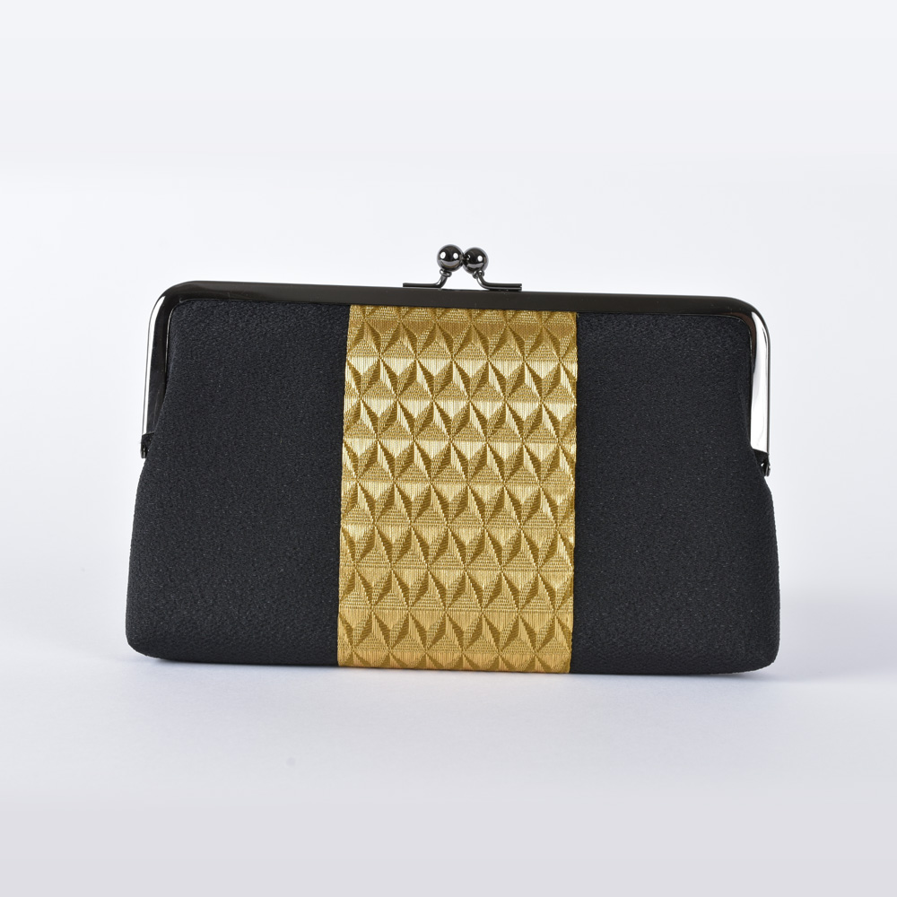 Silk crepe bag with a metal clasp, black